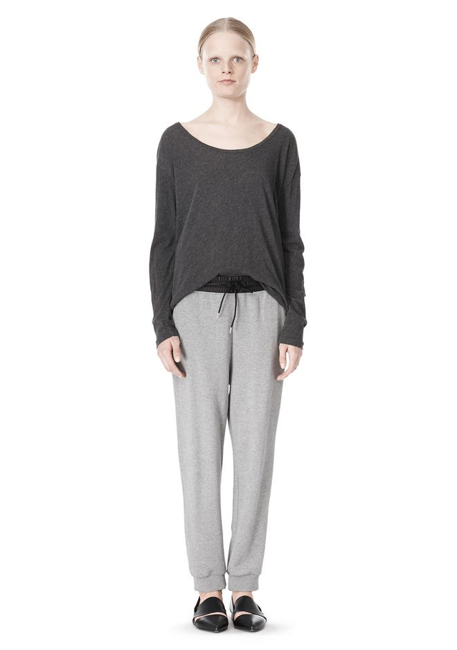 T by ALEXANDER WANG PIMA COTTON LOW NECK LONG SLEEVE TEE
