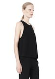 T by ALEXANDER WANG VISCOSE CREPE TOP WITH LEATHER TRIM TOP Adult 8_n_a