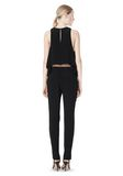 T by ALEXANDER WANG VISCOSE CREPE TOP WITH LEATHER TRIM TOP Adult 8_n_r