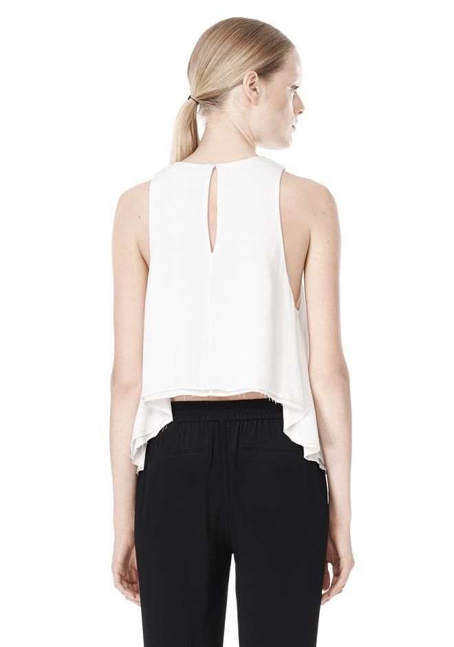 T by ALEXANDER WANG VISCOSE CREPE TOP WITH LEATHER TRIM TOP Adult 12_n_d