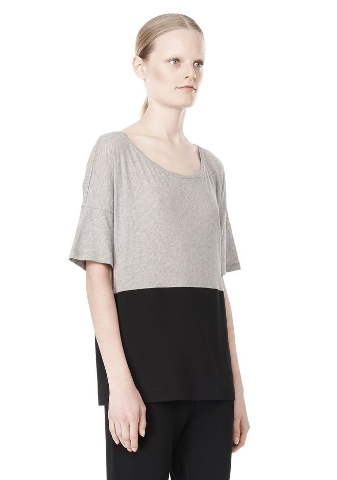 T by ALEXANDER WANG PIMA COTTON & DOUBLE KNIT COMBO TEE TOP Adult 12_n_a