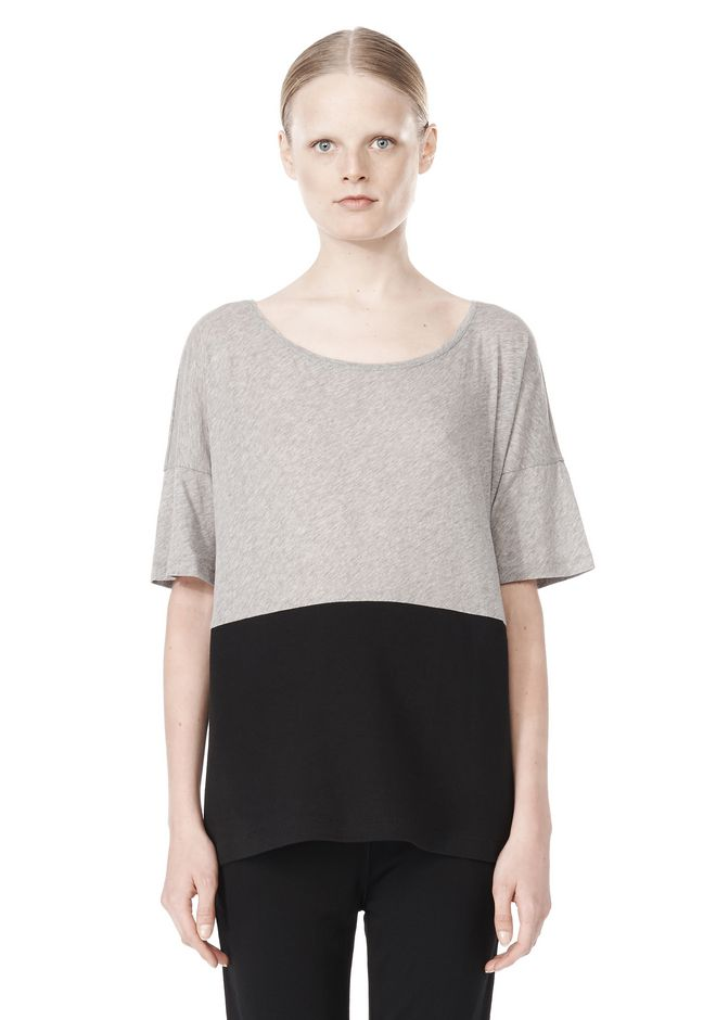T by ALEXANDER WANG PIMA COTTON & DOUBLE KNIT COMBO TEE TOP Adult 12_n_e
