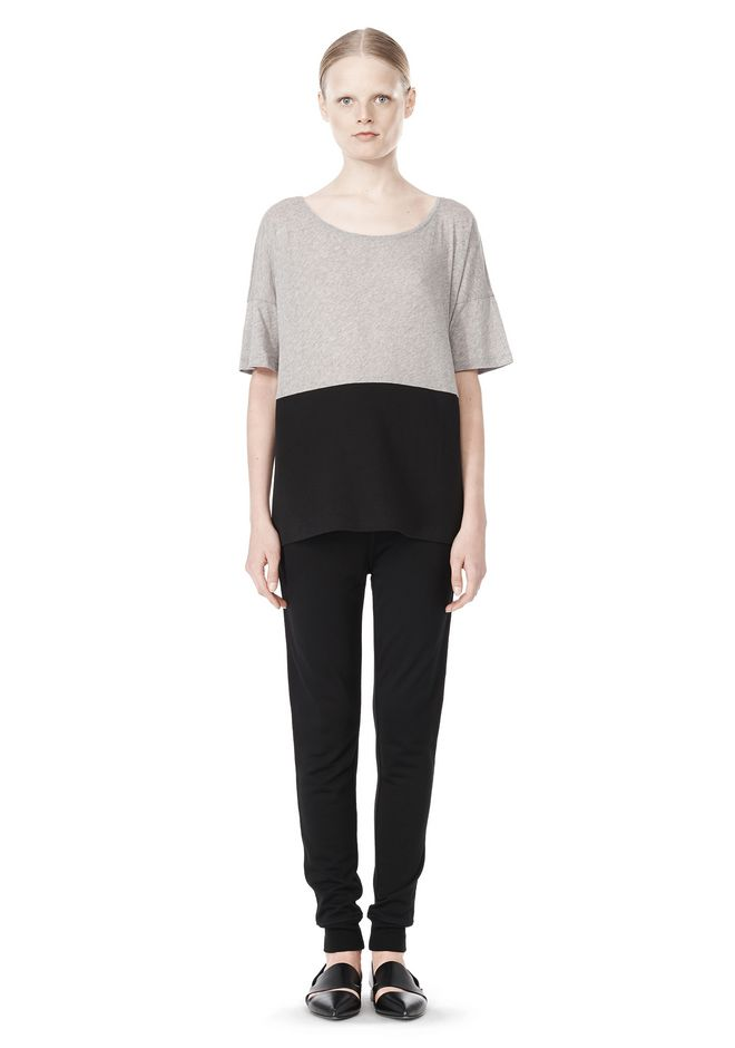 T by ALEXANDER WANG PIMA COTTON & DOUBLE KNIT COMBO TEE TOP Adult 12_n_f