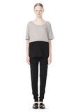T by ALEXANDER WANG PIMA COTTON & DOUBLE KNIT COMBO TEE TOP Adult 8_n_f