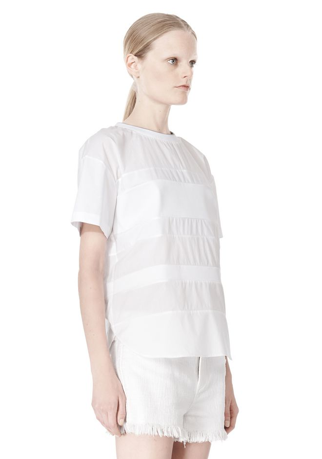 T by ALEXANDER WANG COTTON POPLIN VOILE & DOBBY STRIPE TEE TOP Adult 12_n_a