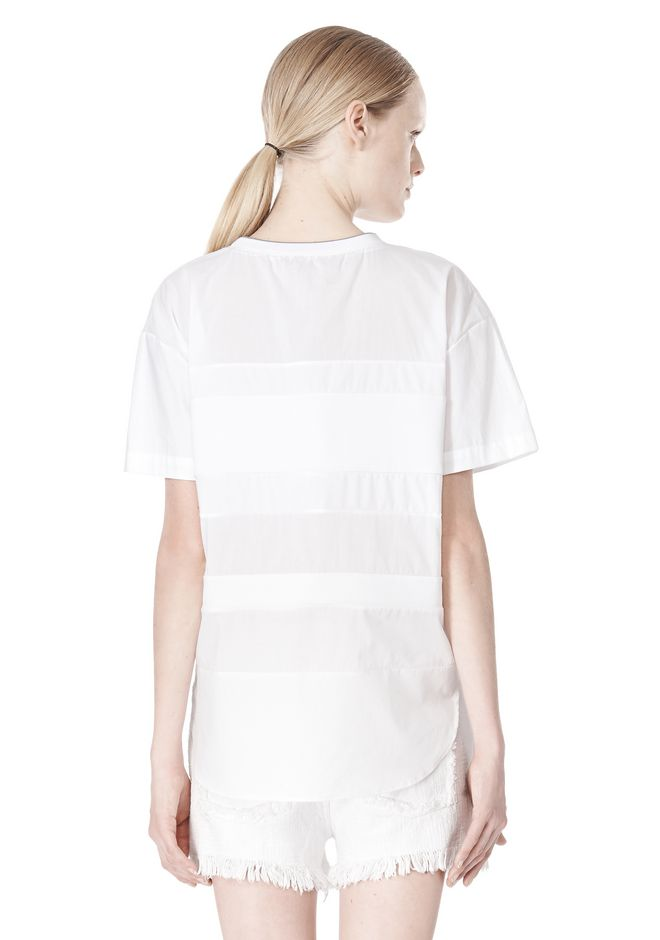 T by ALEXANDER WANG COTTON POPLIN VOILE & DOBBY STRIPE TEE TOP Adult 12_n_d