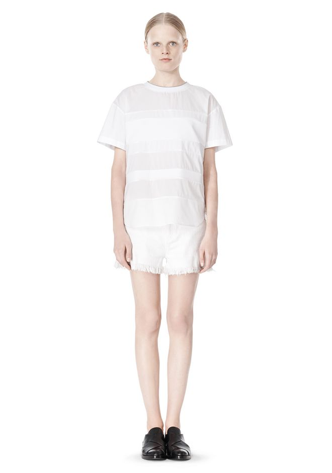 T by ALEXANDER WANG COTTON POPLIN VOILE & DOBBY STRIPE TEE TOP Adult 12_n_f