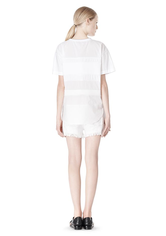 T by ALEXANDER WANG COTTON POPLIN VOILE & DOBBY STRIPE TEE TOP Adult 12_n_r