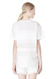 T by ALEXANDER WANG COTTON POPLIN VOILE & DOBBY STRIPE TEE TOP Adult 8_n_d