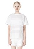 T by ALEXANDER WANG COTTON POPLIN VOILE & DOBBY STRIPE TEE TOP Adult 8_n_e