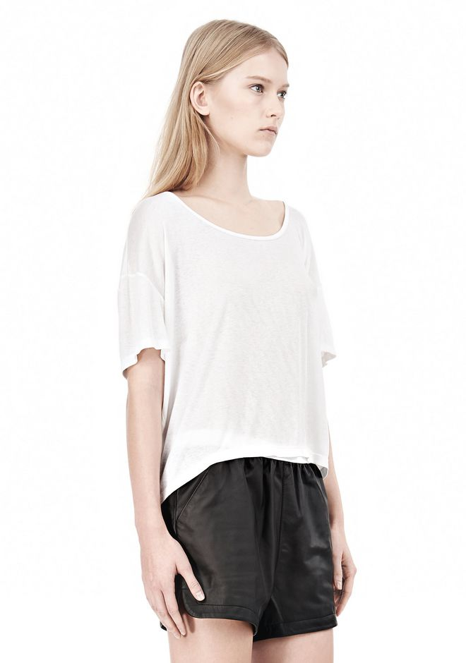 T by ALEXANDER WANG SOFT MELANGE JERSEY SCOOP NECK TEE TOP Adult 12_n_a
