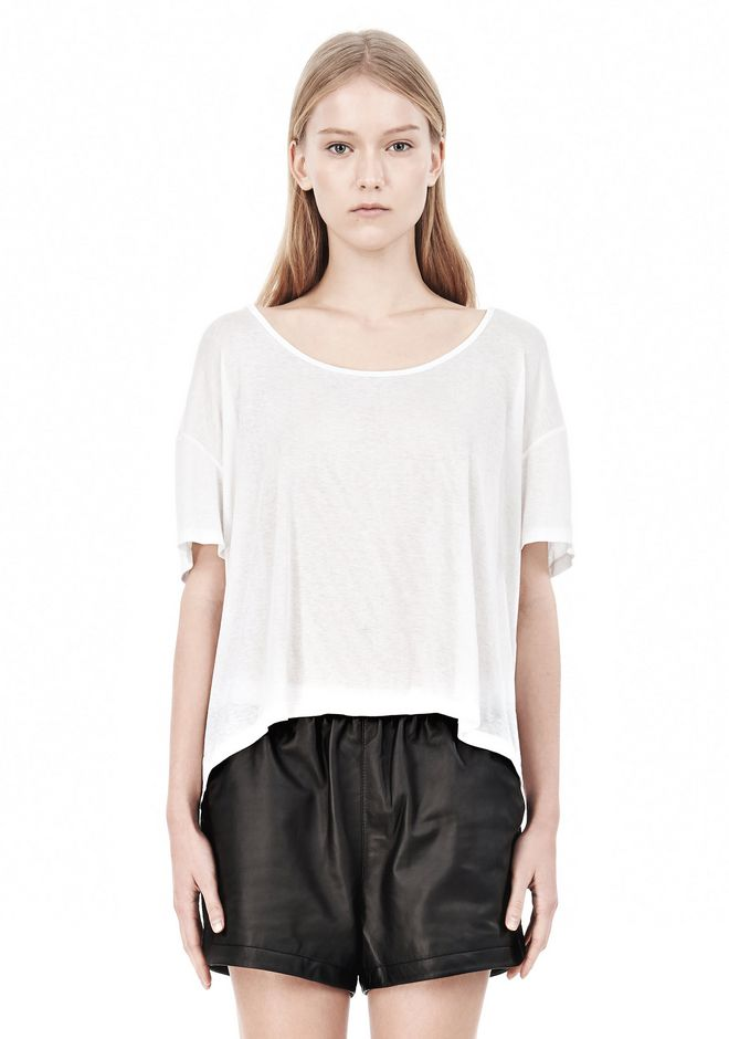 T by ALEXANDER WANG SOFT MELANGE JERSEY SCOOP NECK TEE TOP Adult 12_n_e