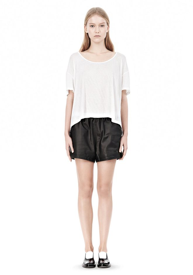 T by ALEXANDER WANG SOFT MELANGE JERSEY SCOOP NECK TEE