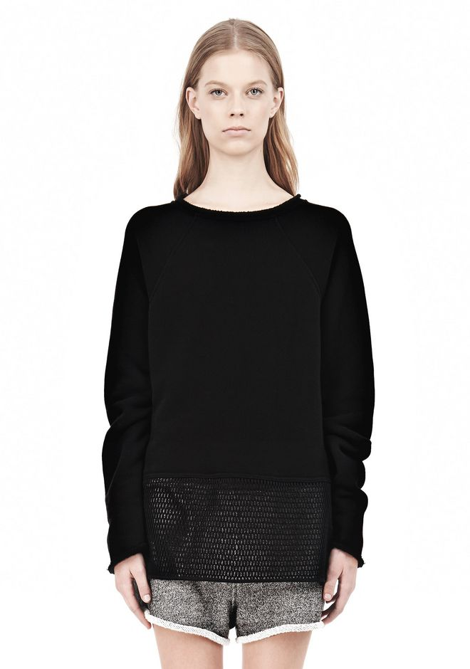 T by ALEXANDER WANG  FRENCH TERRY SWEATSHIRT WITH MESH TOP Adult 12_n_e