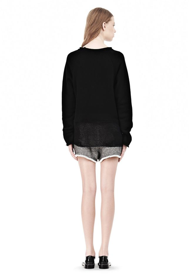 T by ALEXANDER WANG  FRENCH TERRY SWEATSHIRT WITH MESH TOP Adult 12_n_r