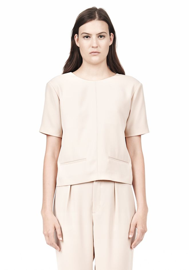 T by ALEXANDER WANG DRAPE SUITING V BACK SHORT SLEEVE TOP TOP Adult 12_n_e