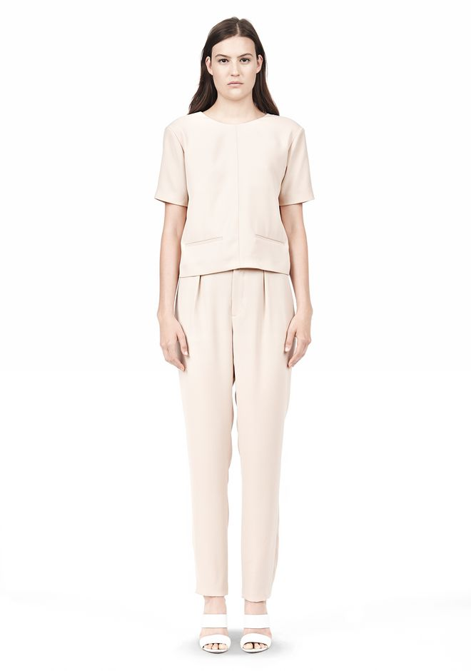 T by ALEXANDER WANG DRAPE SUITING V BACK SHORT SLEEVE TOP TOP Adult 12_n_f