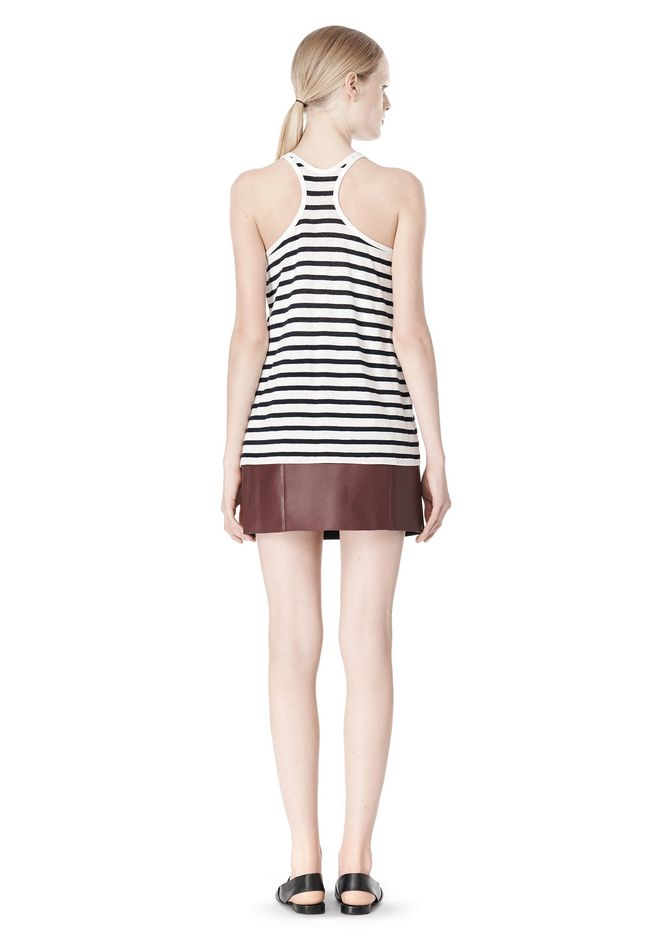 T by ALEXANDER WANG STRIPE LINEN COTTON TANK TOP Adult 12_n_r
