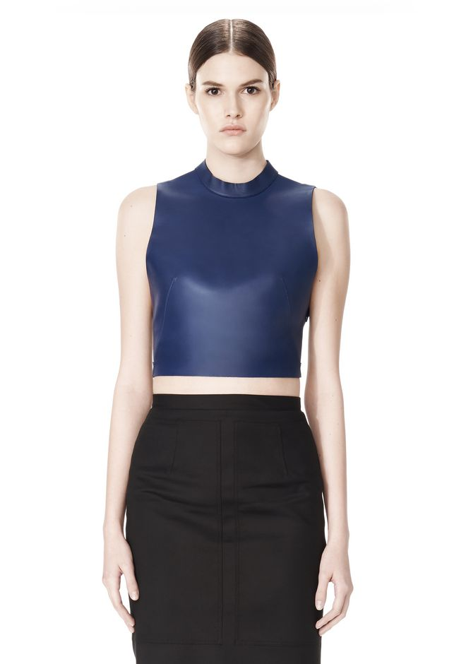 ALEXANDER WANG CROPPED HALTERNECK LEATHER TOP  TOP Adult 12_n_d