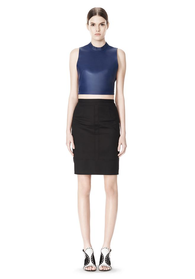 ALEXANDER WANG CROPPED HALTERNECK LEATHER TOP