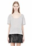 HEATHER LINEN JERSEY CREWNECK SHORT SLEEVE TEE