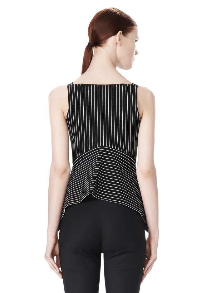 ALEXANDER WANG MIXED PINSTRIPE PEPLUM TOP TOP Adult 12_n_d