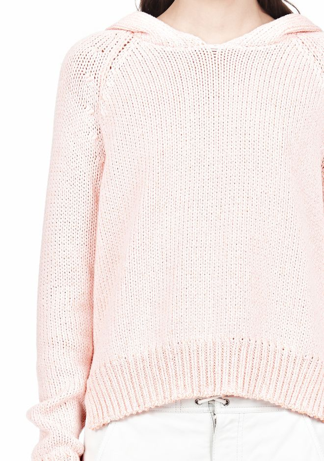 T by ALEXANDER WANG SPECKLED KNITTED HOODIE TOP Adult 12_n_a
