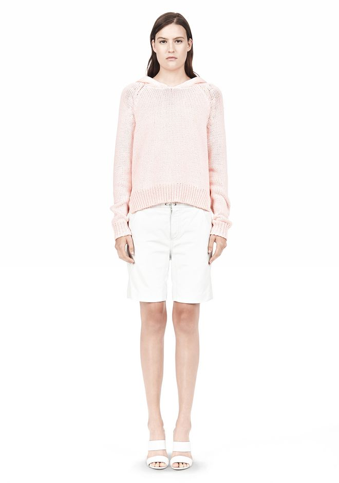T by ALEXANDER WANG SPECKLED KNITTED HOODIE