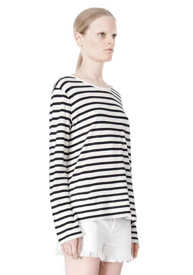 T by ALEXANDER WANG STRIPED LINEN COTTON LONG SLEEVE TEE TOP Adult 12_n_a