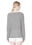 T by ALEXANDER WANG STRIPED LINEN COTTON LONG SLEEVE TEE TOP Adult 8_n_d