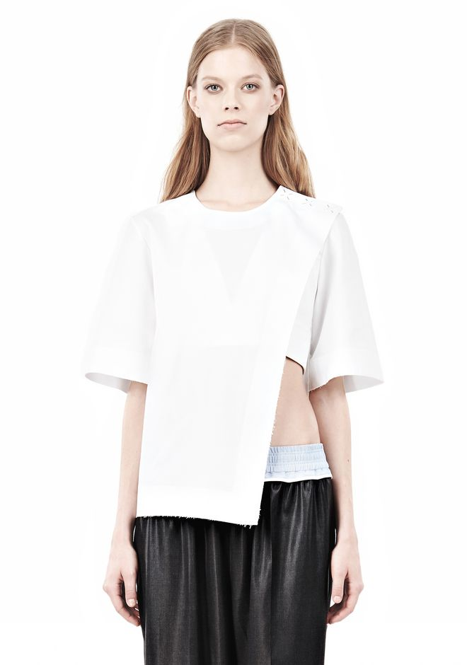ALEXANDER WANG ASYMMETRIC T-SHIRT WITH HIDDEN BRA TOP Adult 12_n_e