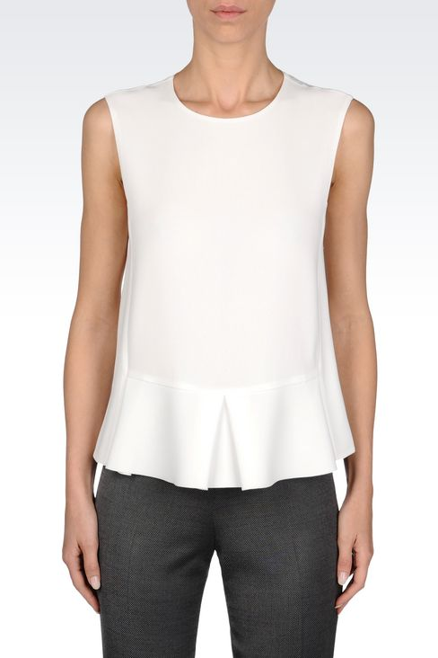 PEPLUM TOP IN CADY: Sleeveless tops Women by Armani - 3