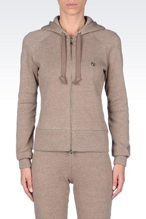 FULL ZIP HOODED SWEATSHIRT WITH MELANGE EFFECT: Hoodies Women by Armani - 3