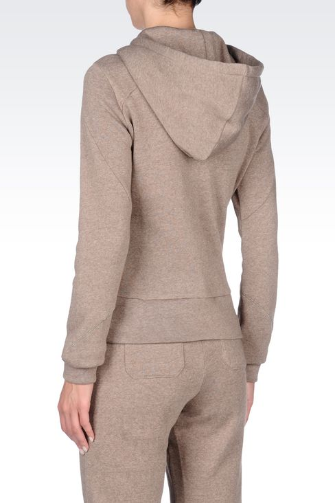 FULL ZIP HOODED SWEATSHIRT WITH MELANGE EFFECT: Hoodies Women by Armani - 4