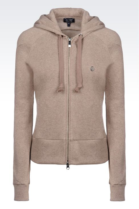 FULL ZIP HOODED SWEATSHIRT WITH MELANGE EFFECT: Hoodies Women by Armani - 1