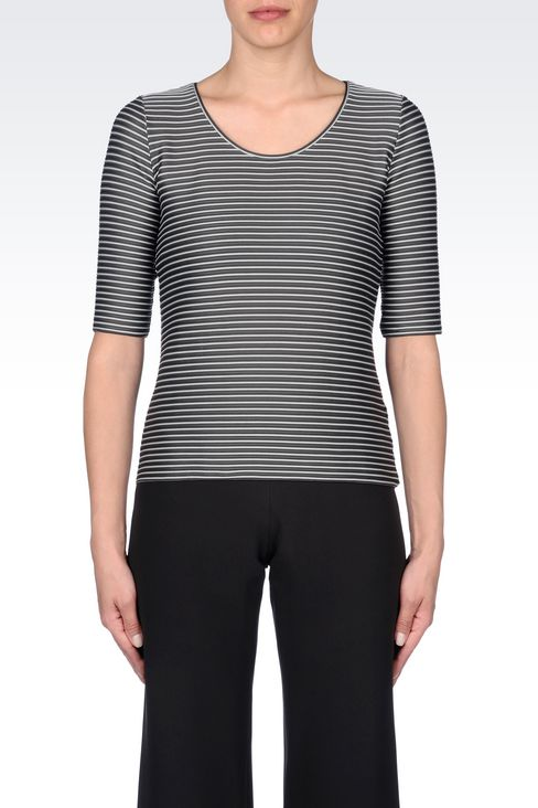 TWO-COLOUR STRIPED T-SHIRT: Print t-shirts Women by Armani - 3