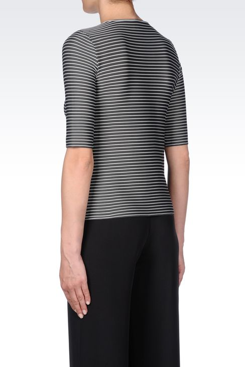 TWO-COLOUR STRIPED T-SHIRT: Print t-shirts Women by Armani - 4