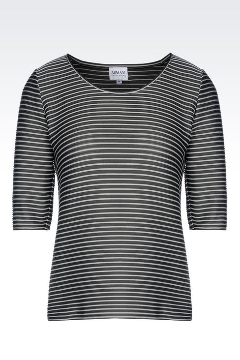 TWO-COLOUR STRIPED T-SHIRT: Print t-shirts Women by Armani - 1