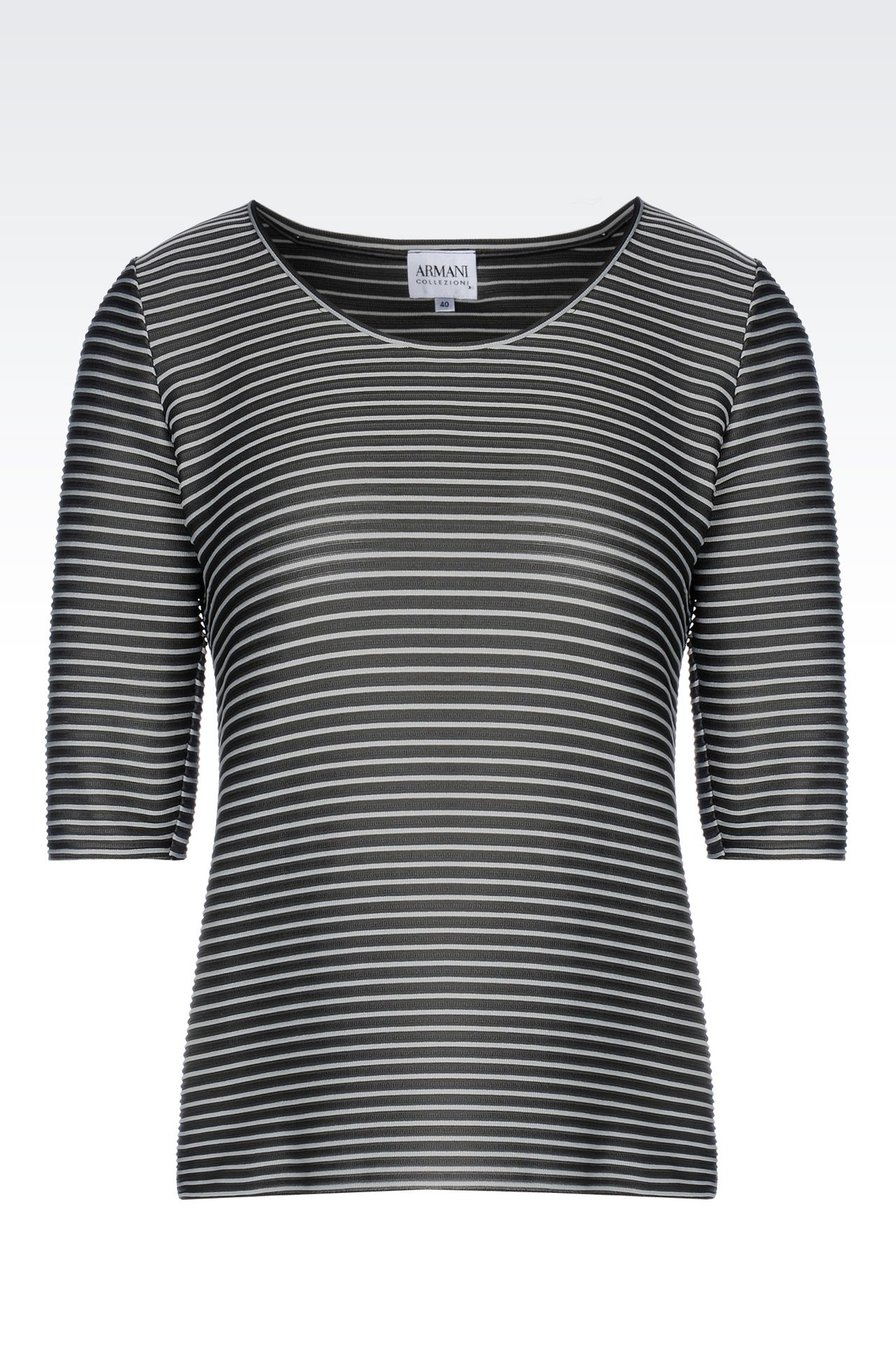 TWO-COLOUR STRIPED T-SHIRT: Print t-shirts Women by Armani - 0