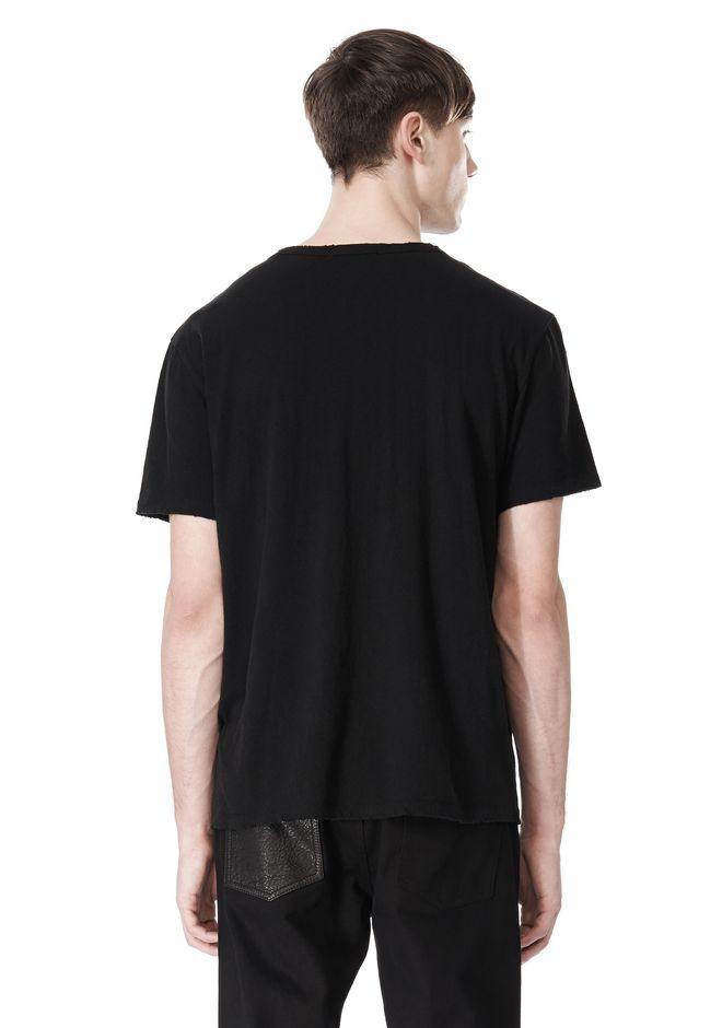 T by ALEXANDER WANG DISTRESSED SLUB COTTON JERSEY CREWNECK TEE T-Shirt Adult 12_n_d