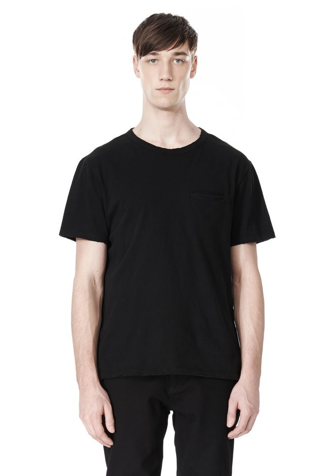 T by ALEXANDER WANG DISTRESSED SLUB COTTON JERSEY CREWNECK TEE T-Shirt Adult 12_n_e