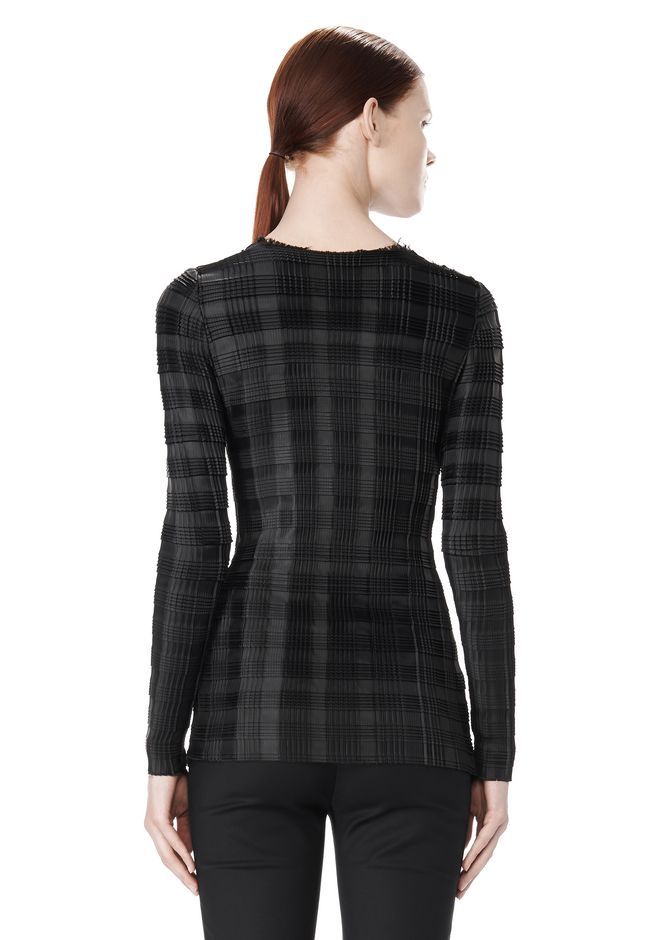 EXCLUSIVE LONG SLEEVE PLEATED TOP WITH RAW EDGE