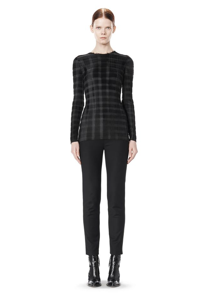 ALEXANDER WANG EXCLUSIVE LONG SLEEVE PLEATED TOP WITH RAW EDGE
