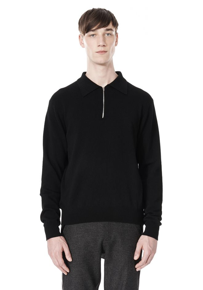 ALEXANDER WANG LONG SLEEVE ZIP  POLO SHIRT TOP Adult 12_n_e