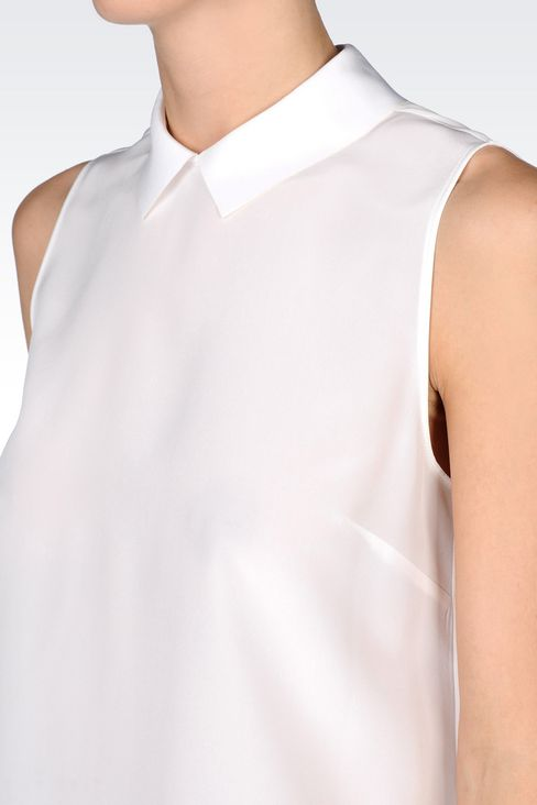 SILK TOP WITH SHIRT COLLAR: Sleeveless tops Women by Armani - 5