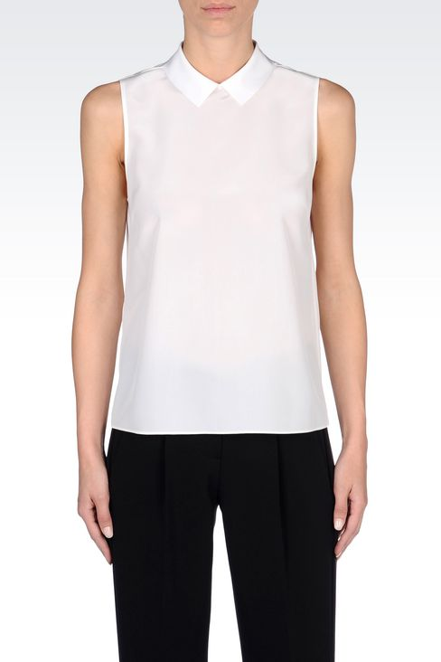 SILK TOP WITH SHIRT COLLAR: Sleeveless tops Women by Armani - 3
