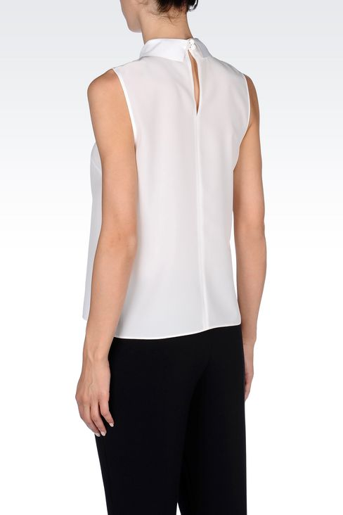 SILK TOP WITH SHIRT COLLAR: Sleeveless tops Women by Armani - 4