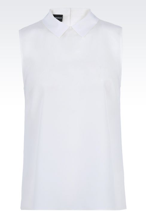 SILK TOP WITH SHIRT COLLAR: Sleeveless tops Women by Armani - 1