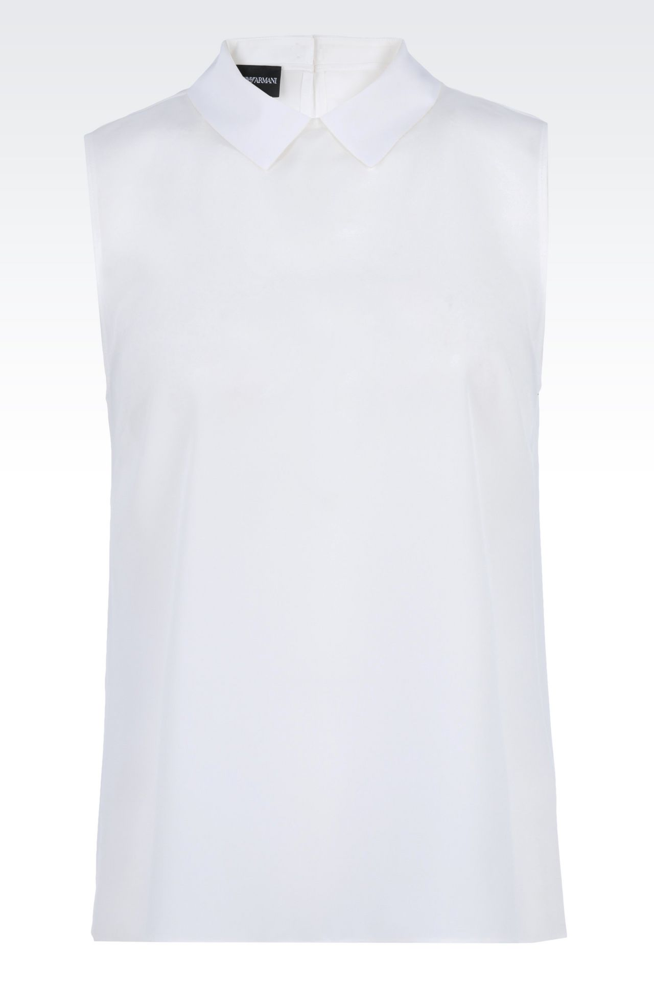 SILK TOP WITH SHIRT COLLAR: Sleeveless tops Women by Armani - 0
