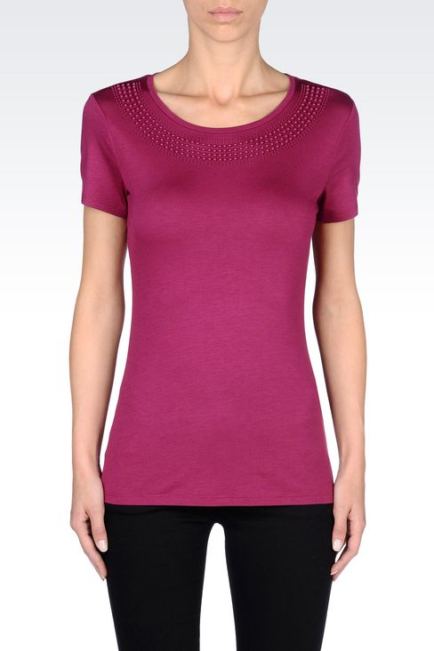 T-SHIRT IN MODAL WITH BEADS: Short-sleeve t-shirts Women by Armani - 3